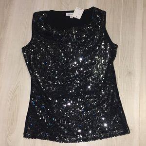 🆕Calvin Klein black silver sequin sleeveless top